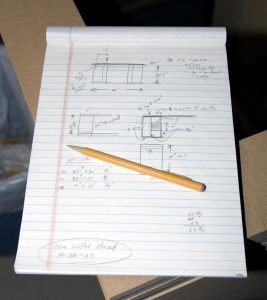 Machine Lathe Cabinet Project Notes in Notepad Codex, Oct 2007