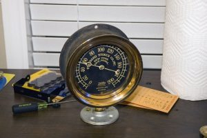 Brass Steam Gauge, March 26, 2014, taken with Nikon D70s handheld using diffused SB-800 flash and 16-85mm lens